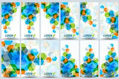 Set of the vector flyers.  Background with colorful hexagons. Modern design Stock Illustration