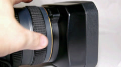 Focus adjustment ring on the camcorder - stock footage