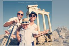 Happy family selfie travel photo cropping for share in social network - stock photo