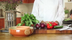 Slider show with chef in front of fresh vegetables Stock Footage