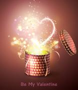 Opened gift-box with  hearts. Stock Illustration