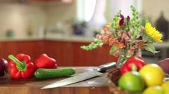 Slider shot - Fresh vegetables in the kitchen Stock Footage