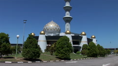 Tilt shot up the Sabah State Mosque Stock Footage