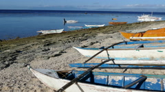 Catamaran Boats in the morning at Balicasag Island Stock Footage
