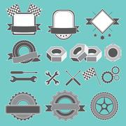 Set of emblem, logotype for mechanic, garage, car repair, service - stock illustration