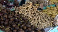 Produce market in in Kota Kinabalu, Stock Footage
