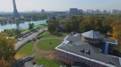 Ostankisky Palace, TV tower and Trinity Church at autumn sunny day Stock Footage