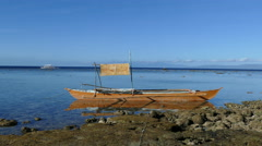 Catamaran Boat in the morning at Balicasag Island Stock Footage