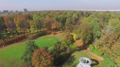 Public garden Ostankinsky with antique style round building at autumn Stock Footage