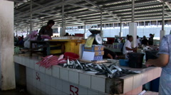 Fish Market in Kota Kinabalu Stock Footage