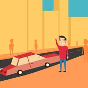 Man want to catch a taxi. Waiting for the car - stock illustration