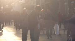 Man in City using smartphone Stock Footage