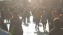 People Walking on Busy Stuttgart Pedestrian Mall Stock Footage