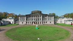 Restoration of Ostankinsky palace at autumn sunny day. Aerial view Stock Footage