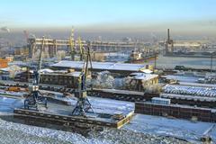 Top view of Sea Port Saint Petersburg, Russia, winter day. - stock photo