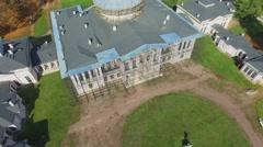 Ostankinsky palace under restoration at autumn sunny day. Stock Footage