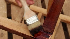 Furniture restoration. Painting Stock Footage