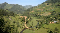 Agricultural Landscape in the Bwindi national park, Uganda Stock Footage