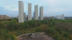 Territory with piles of ground and stones in park Stock Footage