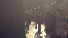 Busy Pedestrian Mall in Stuttgart on Sunny Day. Stock Footage