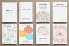 Stock Illustration of Corporate identity vector templates set with doodles invention theme