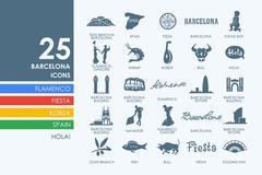 Set of Barcelona icons - stock illustration