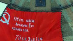 A Giant of a copy of the Victory Banner is unfolded on Moscow's Poklonnaya Hill Stock Footage