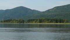 Siberian river Yenisei in summer - stock footage