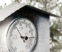 Detail of barometer with white frost Stock Photos