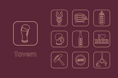 Set of tavern simple icons - stock illustration