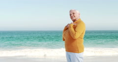 Smiling old retired woman standing Stock Footage