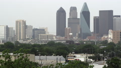 Shot of Dallas skyline with hazy sky. - stock footage