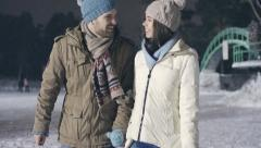 Ice-Skating Date Stock Footage