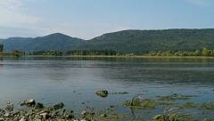 Beautiful Siberian nature. Merger of Siberian rivers Yenisei and Mana - stock footage