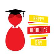 Happy womens day, women graduate design Stock Illustration