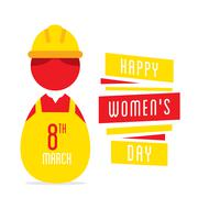 happy womens day, women working as engineer design - stock illustration
