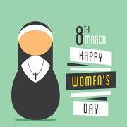 happy womens day, nun prayer design - stock illustration