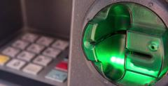 Debit card slot on ATM flashing 4k - stock footage