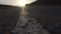 British Countryside Road At Sunset Stock Footage