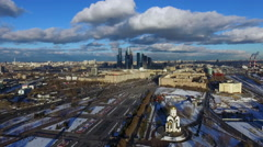 Aerial view of Victory park and city center in Moscow Stock Footage