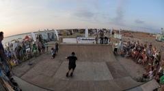 Demonstration Performances Of rollerskating. Athletes making tricks on Stock Footage