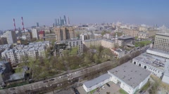 Cityscape with traffic during manoeuvres of VCMK Zashita Russia Stock Footage