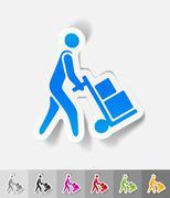 Realistic design element. delivery man Stock Illustration