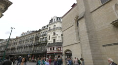 Tourists walking near the Danish Tavern in Brussels Stock Footage