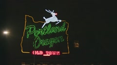 Neon Portland Oregon sign at night HD - old town Stock Footage