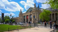 Tourists in front of the Grand Palais in Paris Stock Footage