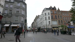 People walking on Rue des Fripiers in Brussels Stock Footage