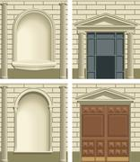 Classic exterior facade elements - stock illustration