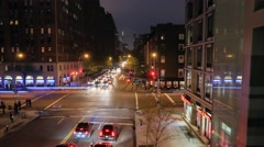 Night hyperlapse view of the busy streets corner in New York Stock Footage