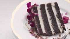 Delicious chocolate cake spinning in HD - organic Stock Footage